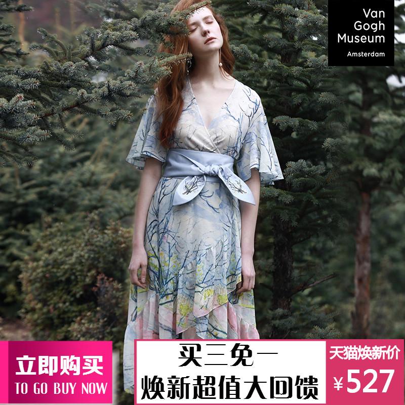 两三事梵高正版授权与世界和解 夏季新款印花雪纺连衣裙中长款
