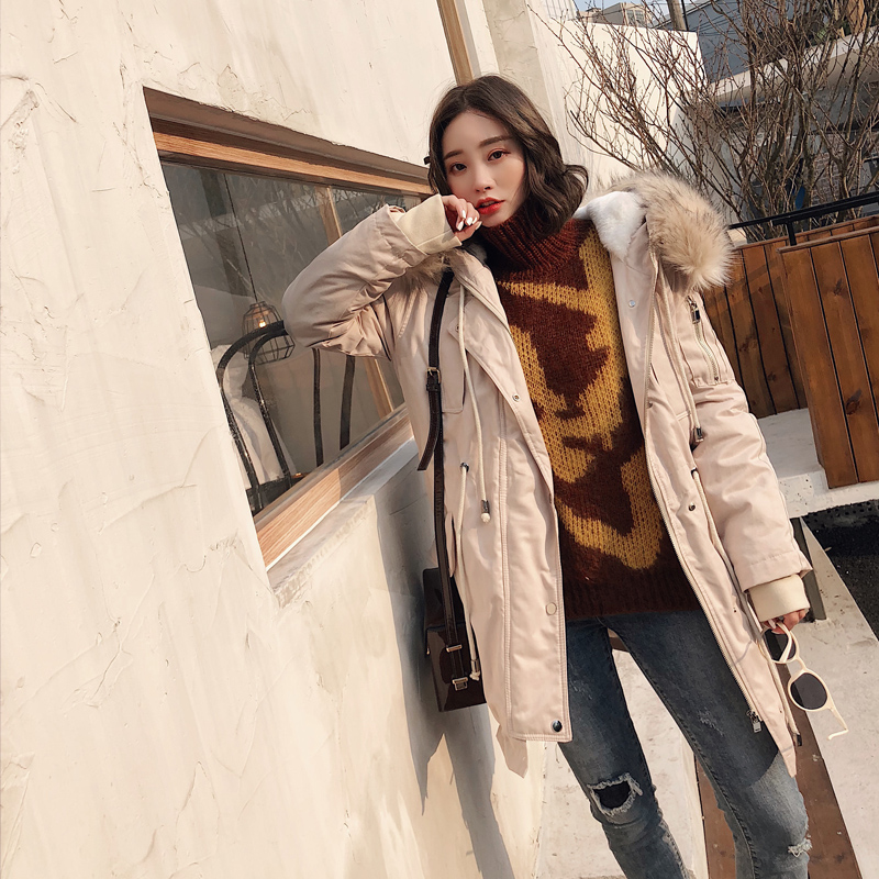 中长款棉服女2018新款韩版大毛领学生冬季抽绳收腰工装外套加厚潮