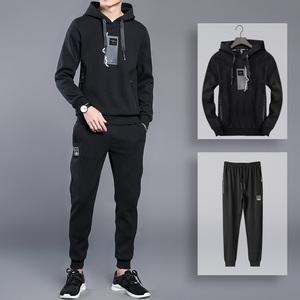 套装男士春秋装运动服两件套青少年韩版休闲装中学生卫衣男运动装