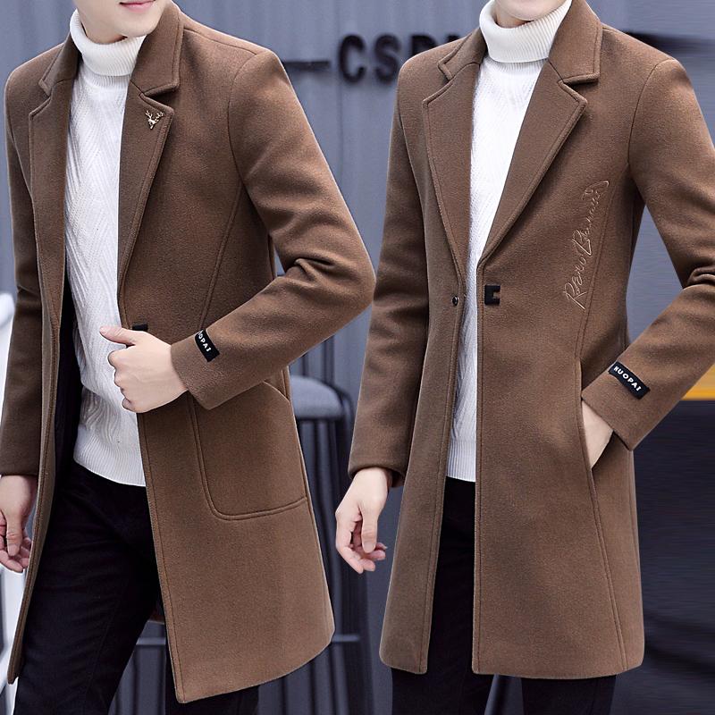 秋冬季风衣男中长款韩版帅气毛呢大衣男士呢子外套2018新款男装潮