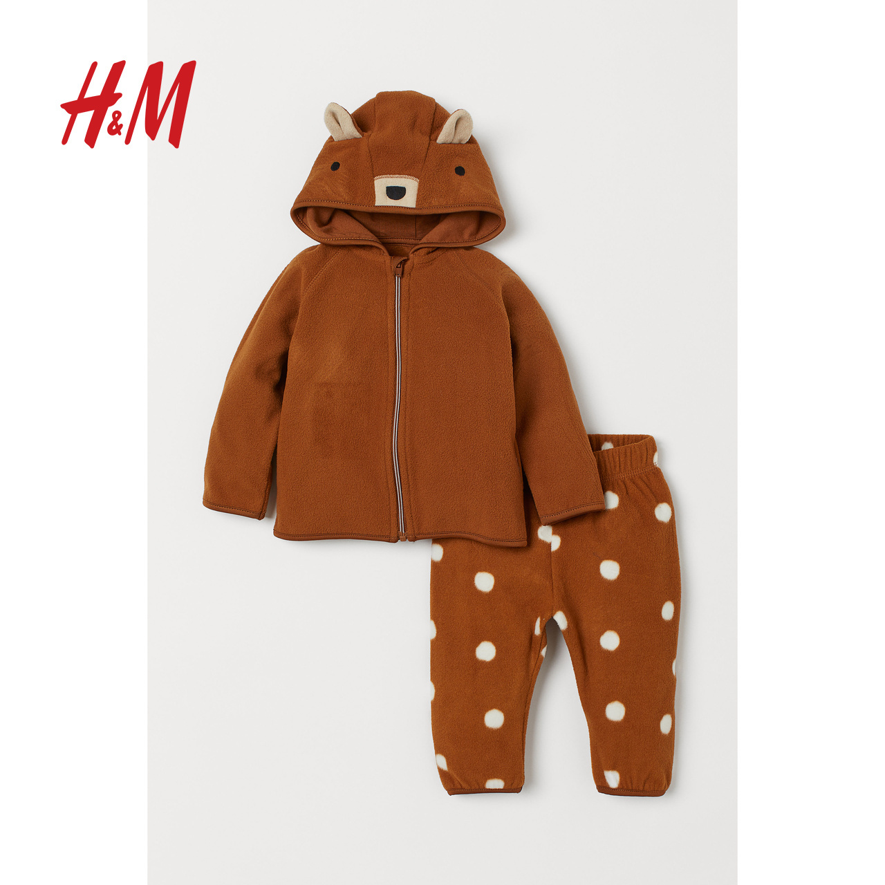 HM 童装婴儿宝宝套装2019秋冬新款抓绒外套和长裤   0803586