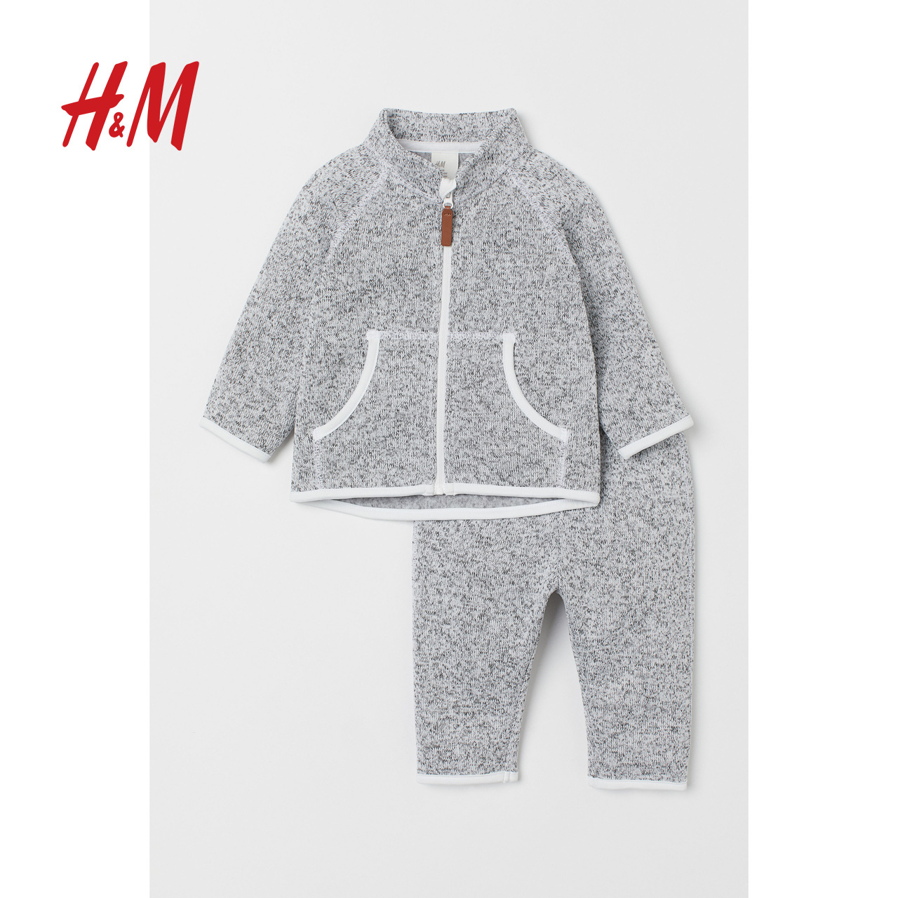 H&M童装婴儿宝宝套装2019秋装新款加绒外套和长裤HM0734923
