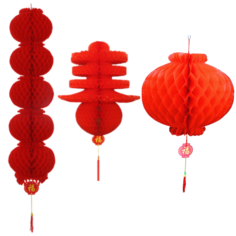 大红灯笼连串蜂窝纸灯笼春节日新年庆典新年喜庆商场装饰小灯笼串