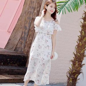 实拍2018夏季雪纺女装露肩高腰连衣裙修身显瘦韩版小清新长裙60