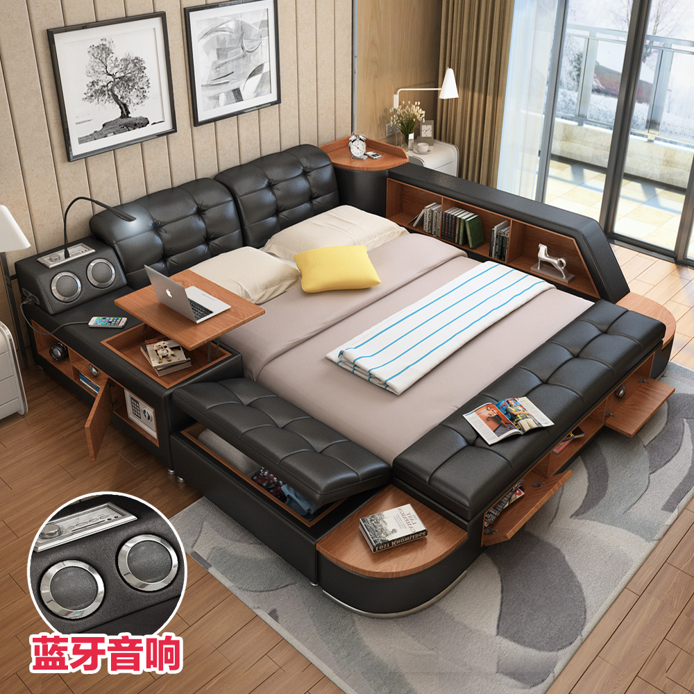 Sound Smart Bed Master Bedroom Tatami Bed Double Bed Leather Bed Multi Purpose Modern