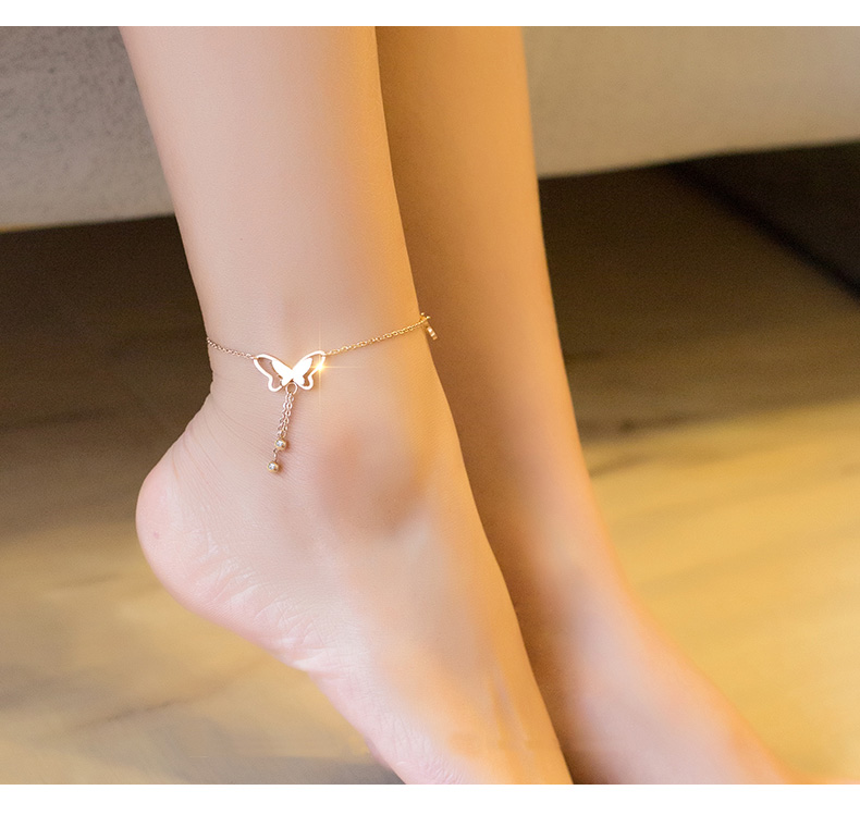 Coins Money Summer Fashion Foot Chain Anklet Ankle Bracelet Jewelry Women Girls Student Temperament Gift Simple Steel Couple Does not Fade