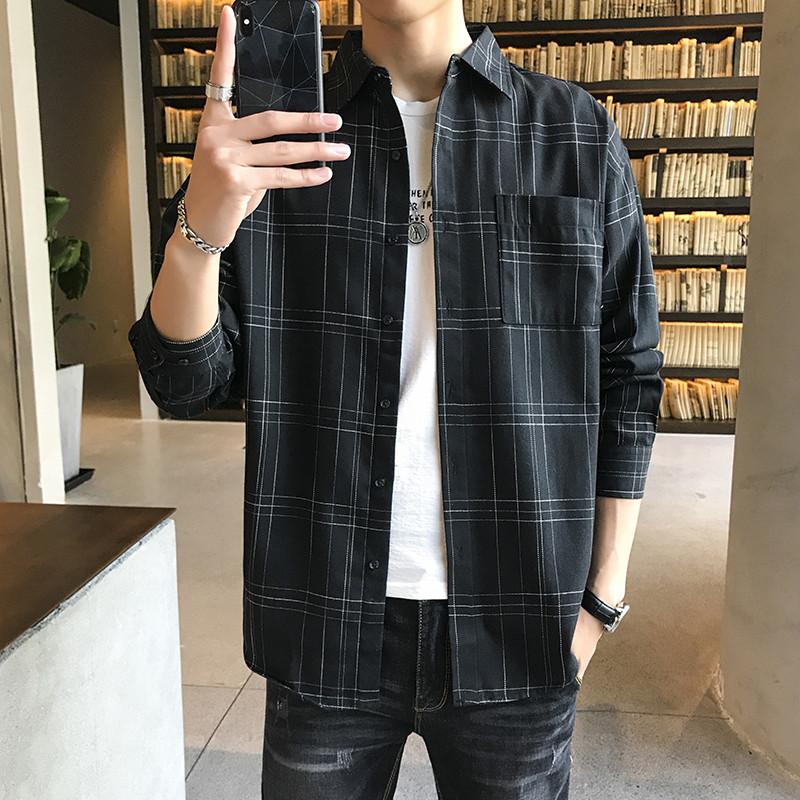 春秋季男士衬衫韩版宽松长袖衬衣男商务休闲潮流条纹衬衫大码男装