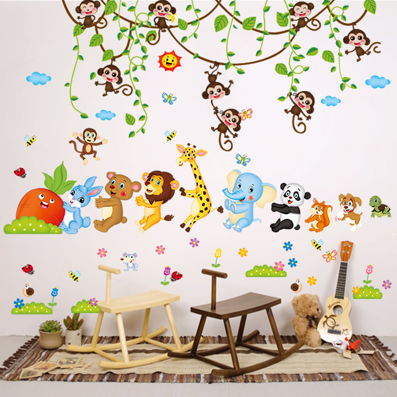 Cartoon wall stickers height girl bedroom wall stickers children\'s room  wall decoration kindergarten wall paper self-adhesive