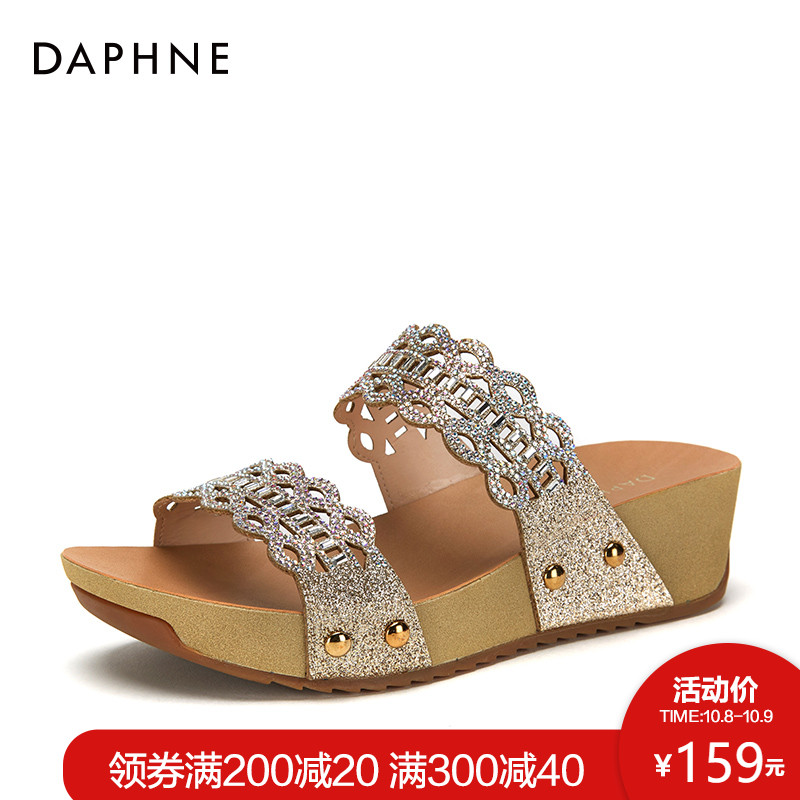 Daphne-达芙妮2018夏季新款凉鞋女套脚时尚亮片水钻松糕鞋拖鞋女