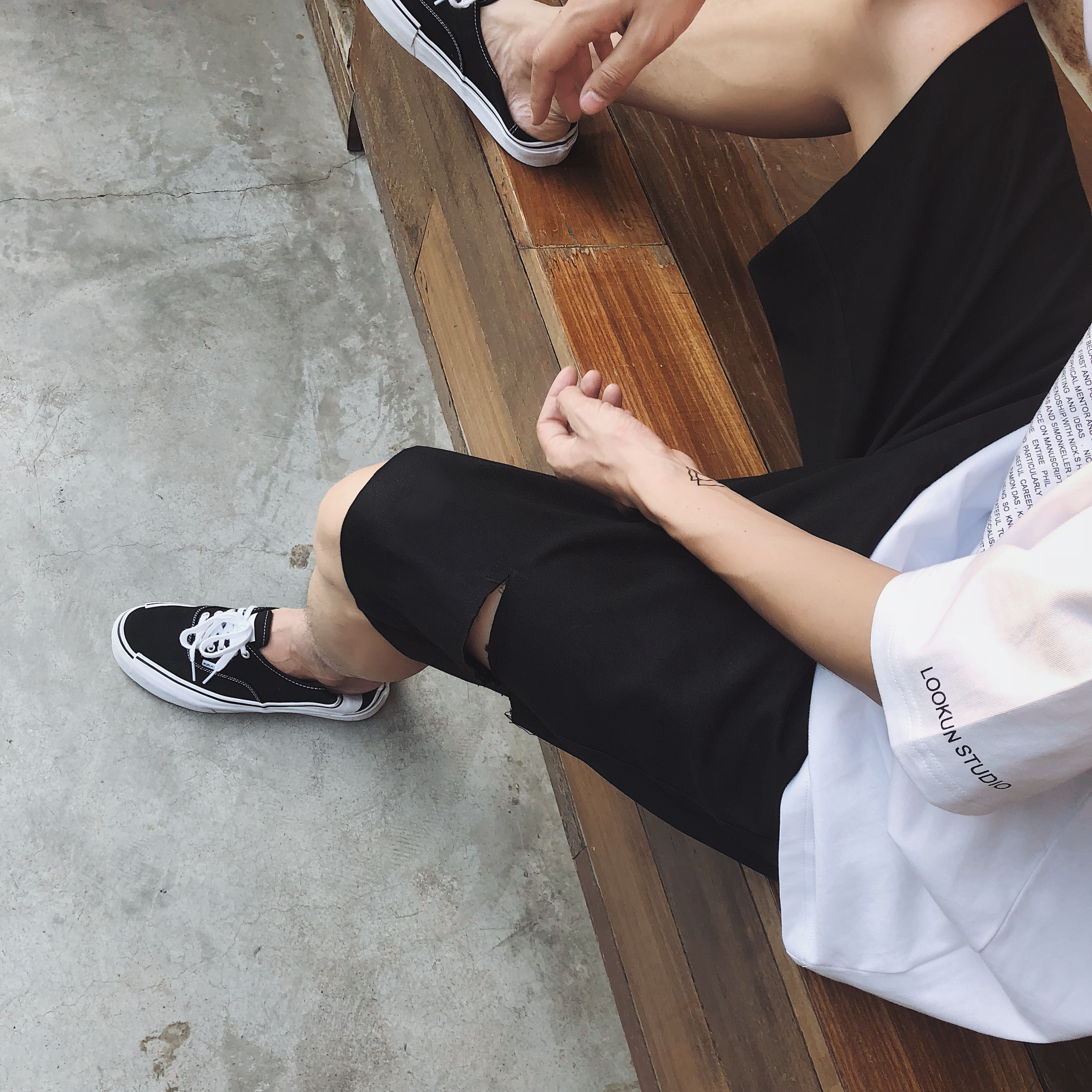 物空宋松 夏装潮男宽松侧破洞嘻哈街舞休闲短裤中裤五分裤ins超火