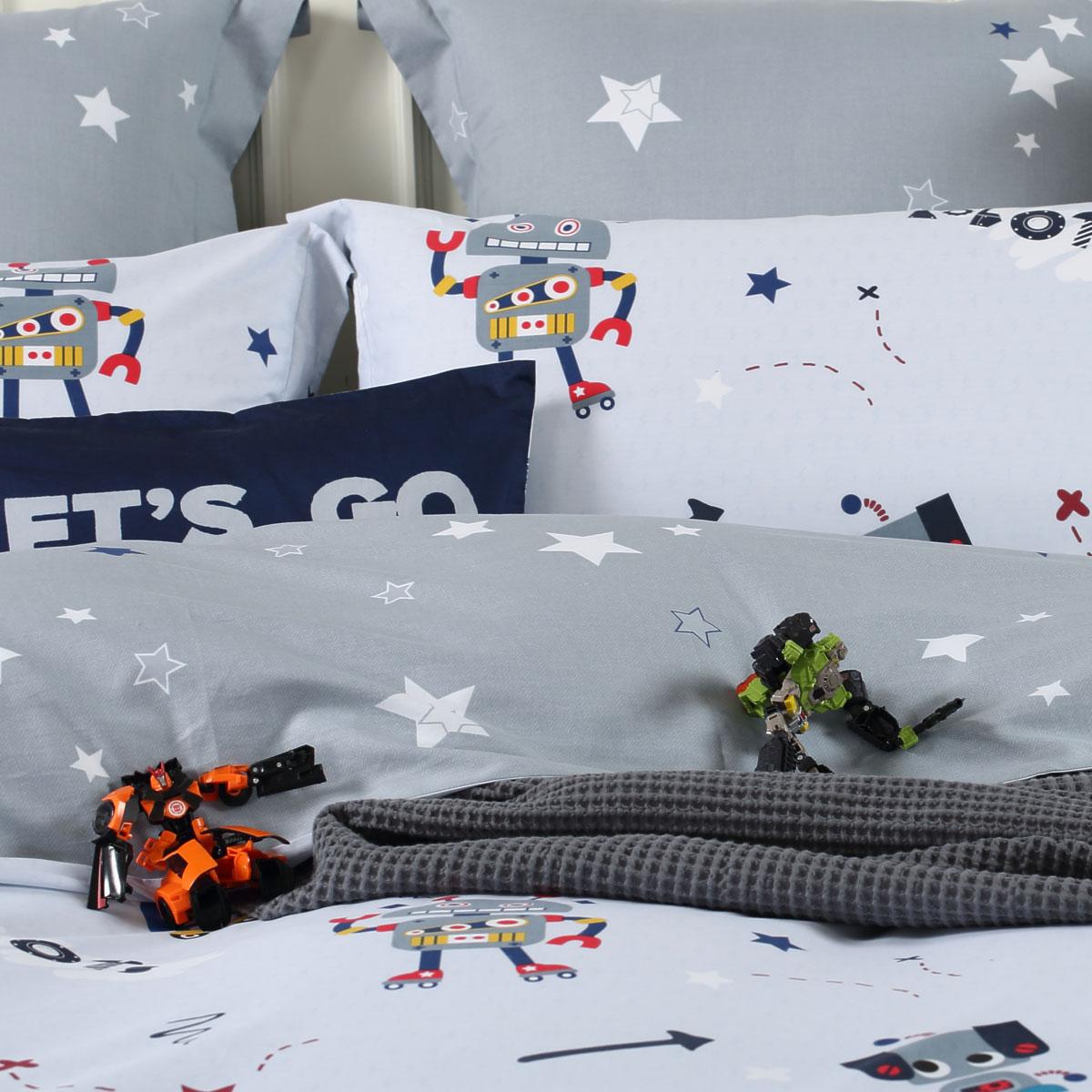水星家纺儿童四件套男孩全棉纯棉卡通床上用品床单被套机器人新品