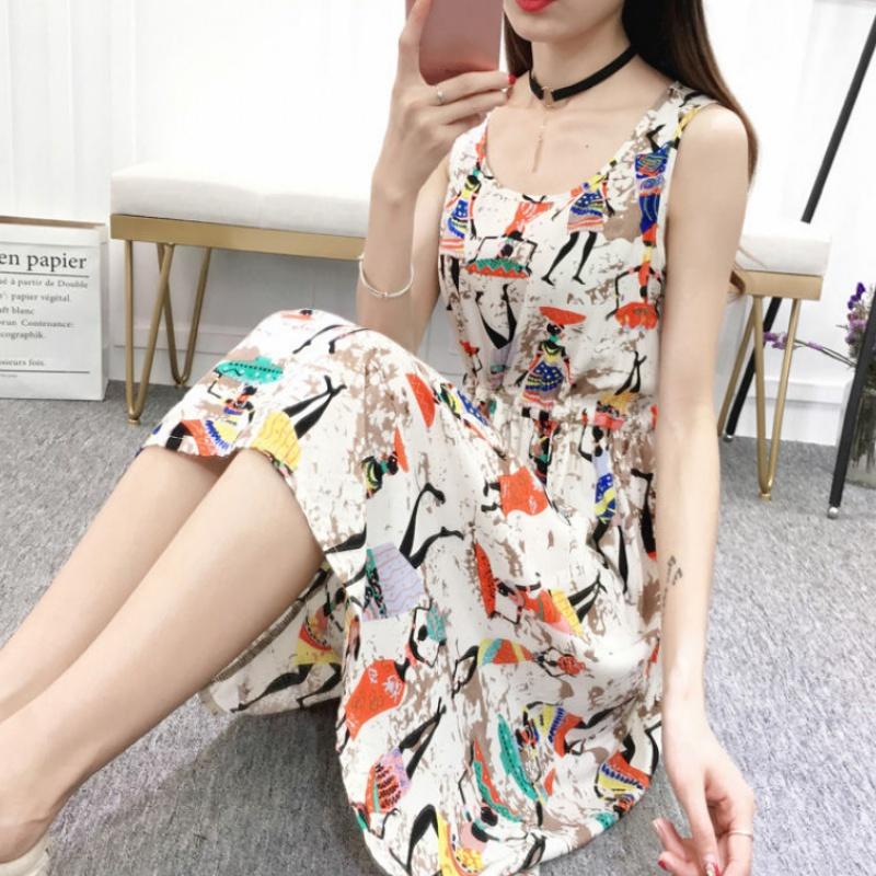 2020夏季新款韩版短款棉绸连衣裙女士人造棉碎花学生大码收腰裙6
