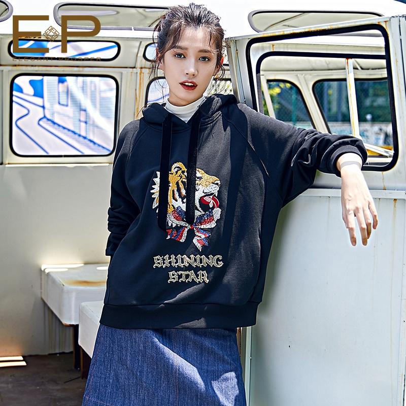 [商场同款]EP雅莹 2018秋季新款女老虎钉珠刺绣休闲短款卫衣5279A
