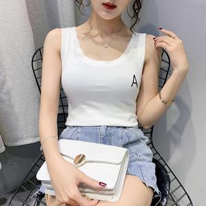 实拍#新款韩版字母刺绣吊带背心女外穿无袖t恤显瘦内搭打底上衣