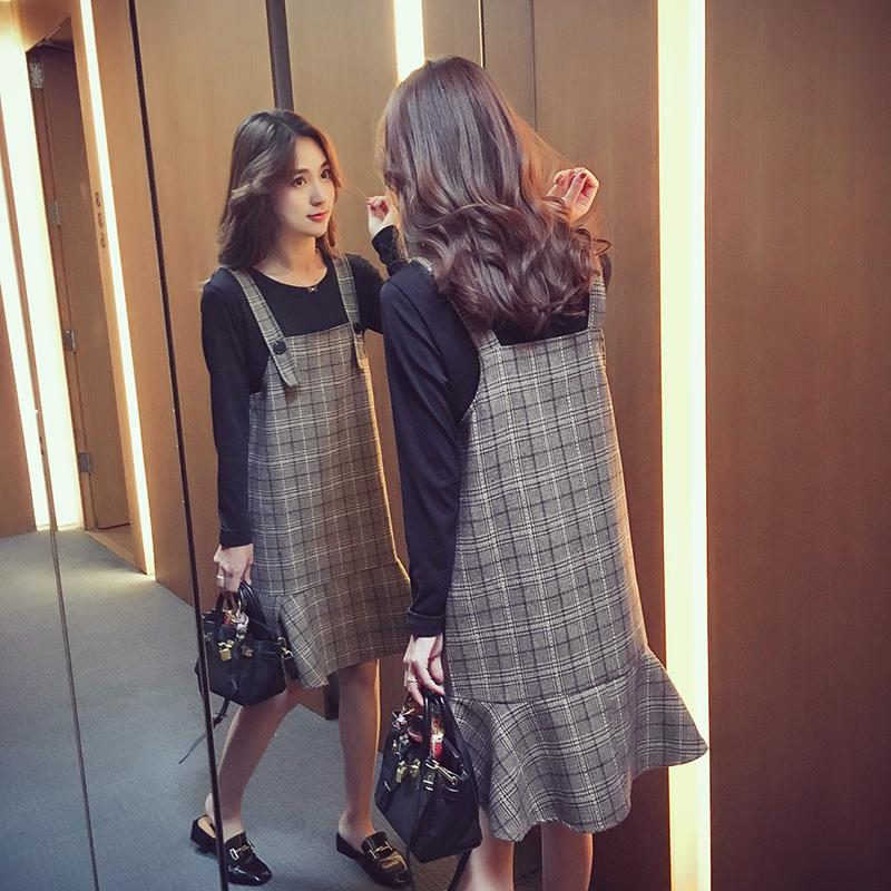 23区 2017秋季新款韩版宽松背带连衣裙女装中长款两件套荷叶边a字裙子