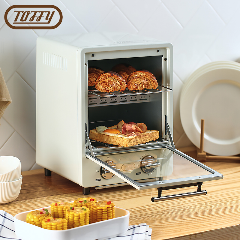 Japanese Toffy household double-decker electric oven multifunctional mini net Red retro oven baked cake bread