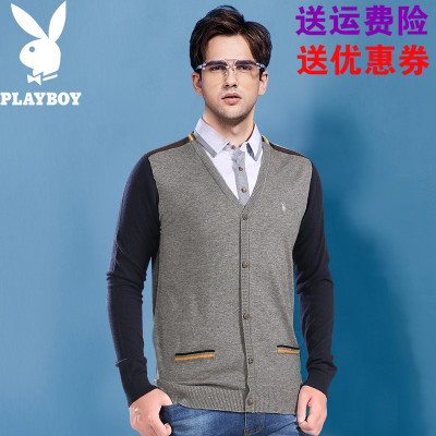 Playboy fake two sweater men's autumn and winter models long-sleeved business casual sweater men's sweaters tide