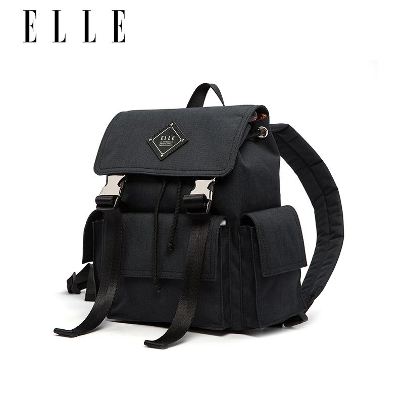 ELLE女包18年春夏新款80678时尚双肩包抽带单肩旅行包手提尼龙