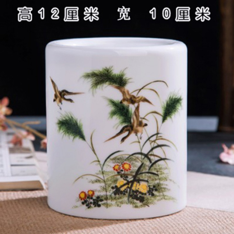 Four treasures of the study calligraphy painting brush brush pot longquan celadon ceramics with more creative Chinese wind power