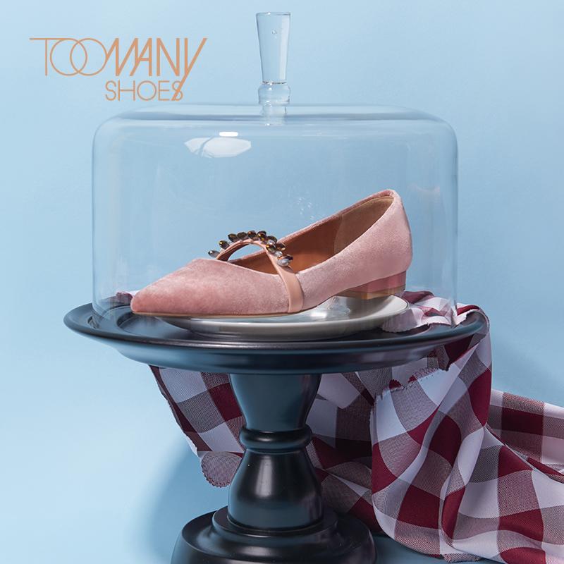 ToomanyshoesJubilee 复古丝绒钻饰尖头平底女鞋新款单鞋温柔鞋