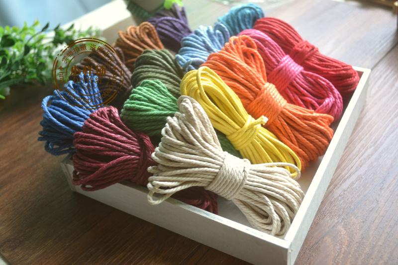 2.5mm三股彩色蜡棉绳多种颜色手工diy编制装饰工艺绳子3元10米