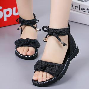夏季6公主7女童鞋8中童9平底凉鞋10夏天罗马11女孩5到12岁小学生