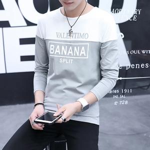 新款长袖拼接T恤男休闲韩版上衣潮青少年长袖衫736#