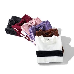 2018新款冬季时尚条纹拼接毛衣男加绒韩版潮流加厚线衣保暖针织衫