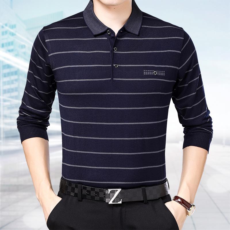 新款男士翻领T恤polo衫男长袖韩版潮秋季商务休闲条纹时尚体恤潮