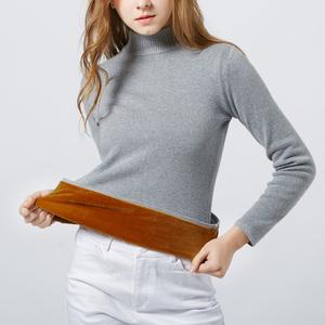 毛衣女加绒加厚半高领2018冬装新款保暖衣服套头针织衫上衣打底衫