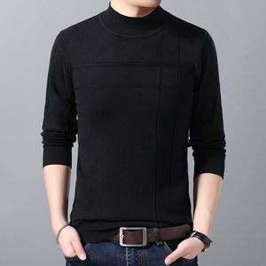 男士高领毛衣长袖针织衫韩版潮流修身t恤春秋纯色休闲青年新款ins