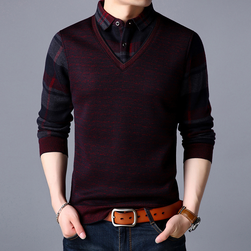 假两件男士毛衣长袖打底针织衫2018新款套头衫韩版修身潮流春秋