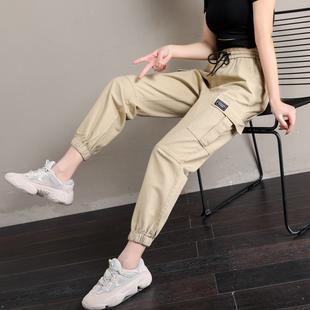 工装裤女休闲宽松舒适显瘦口袋棉学生2019春款嘻哈运动裤时尚潮流