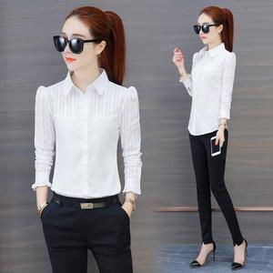 白色纯棉衬衫女长袖2019春装新款韩版上衣休闲打底衬衣职业工装