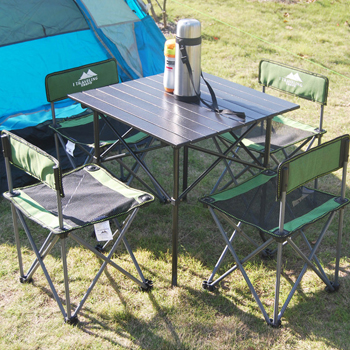 Outdoor Simple Folding Fivepiece Portable Portable Chair Self - Picnic table with backrest