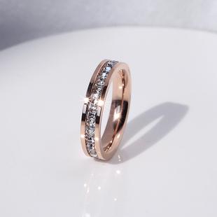閃鉆網紅鈦鋼食指環戒指女簡約氣質日韓