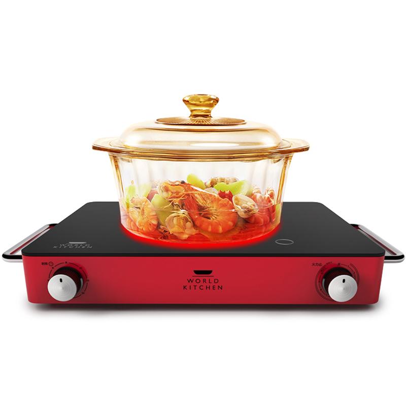 美国康宁微晶电陶炉双圈辐热炉透明家用玻璃锅耐高温静音锅煮茶炉