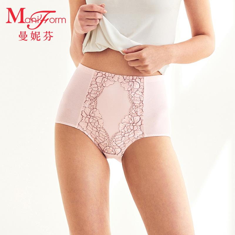 曼妮芬优雅蕾丝棉质透气三角裤 舒适中腰收腹提臀大码内裤 女士