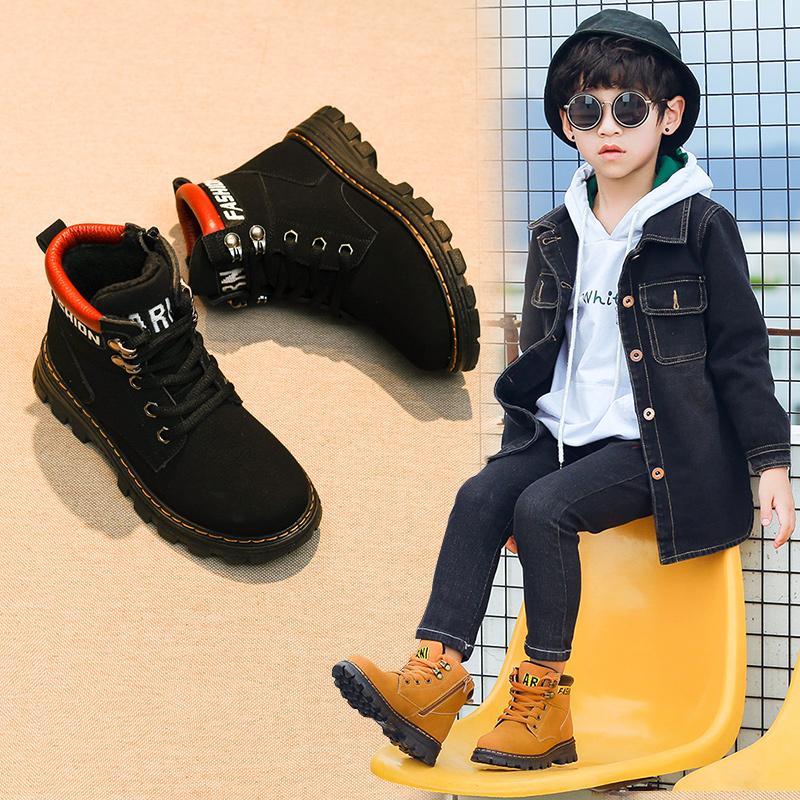 男童靴子2018新款秋冬季儿童棉靴加绒冬鞋二棉马丁小黄鞋短靴单靴