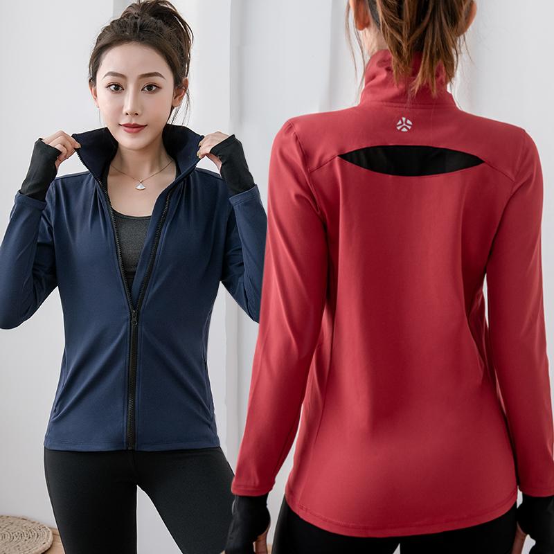 运动外套女秋冬厚款长袖上衣健身休闲跑步速干宽松拉链瑜伽服开衫