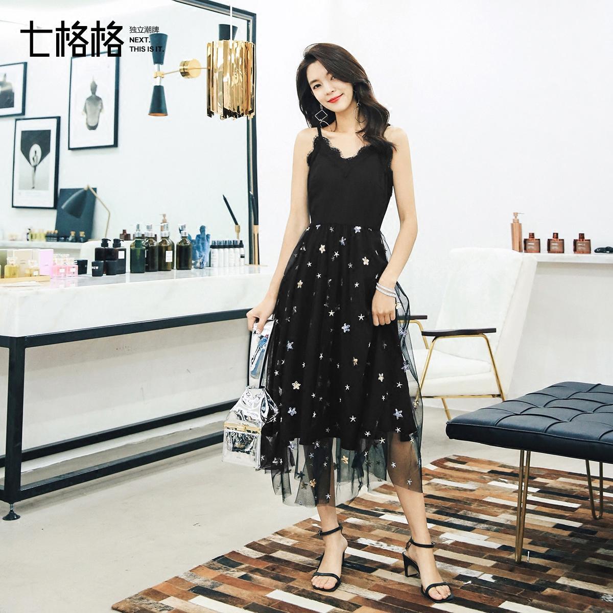 黑色蕾丝连衣裙子2018春季装新款性感中长款小礼服吊带裙女夏外穿