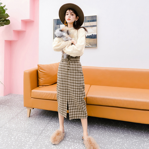 Seven-lattice French Minority High-waist Lattice Suit Skirt Female Early Spring 2009 New Net Red Two-piece Suit Fashion