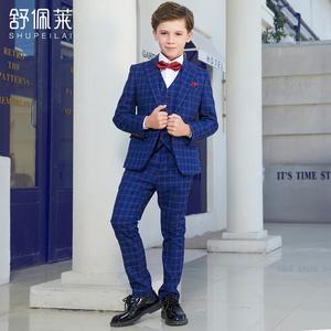 男童礼服套装英伦风2018新款秋装小孩西装儿童西服男格子绅士帅气