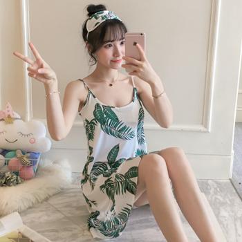 韩版睡衣女夏季长袖睡裙纯棉宽松甜美可爱性感薄款家居服娃娃领