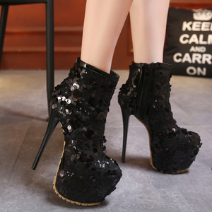 16CM super high heel boots black sequined shoes high-heeled boots 34-40 nightclub stage