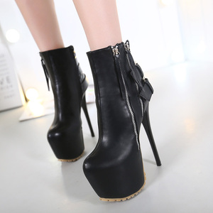 16CM high heeled punk style double zipper high-heeled boots size 34-40