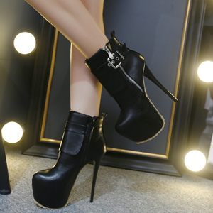16CM super female high-heeled boots round black catwalk stage shoes size  34-40