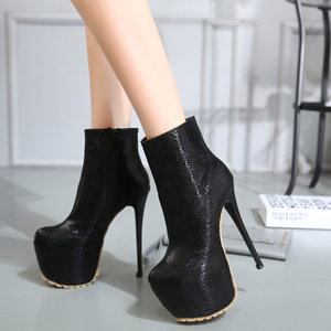16CM super high heels boots high-heeled shoes round star catwalk shoes size 34-40