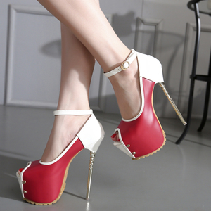 16CM fish mouth high heeled stiletto heels ankle shoes waterproof shoes size 34-40