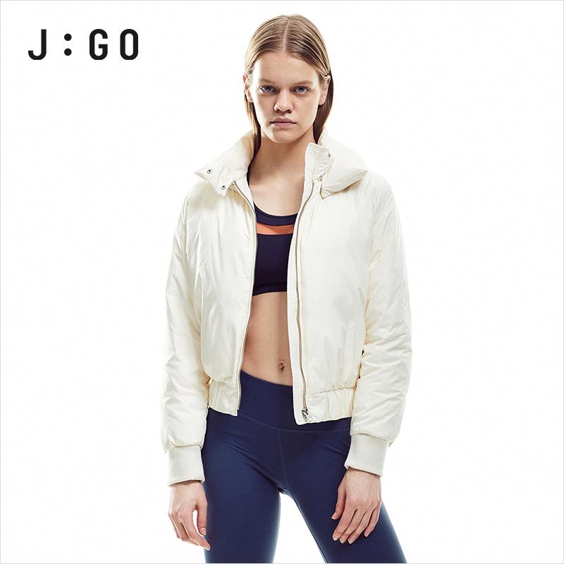 JGO秋冬运动羽绒服短款轻薄保暖防风外套羽绒服女UO42M31N2002
